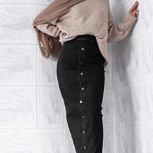 AGHR Gonna A Pieghe Gonna Lunga in Denim con Bottoni A Vita Alta Jeans Donna Matita Gonne Lunghe L Nero