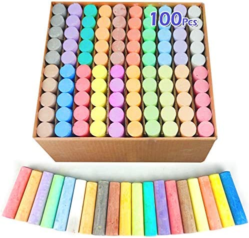 100 Pack 20 Colors Jumbo Sidewalk Chalks for Kids Toddlers Chalks Set Easter Outdoor Toys Washable Drawing Chalks Paint on Chalkboard Playground Blackboard Easter Basket Stuffers Party Favors Games