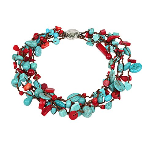TreasureBay Beautiful Chunky Multi-Strand Turquoise Gemstone And Red Coral Necklace; Presented In A Beautiful Jewellery Gift Box