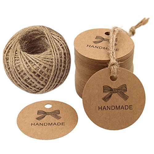 100 PCS HANDMADE Tags Kraft Paper Hang Tags 1.7'' Round Tags Craft Gift Tags with 100 Feet Natural Jute Twine