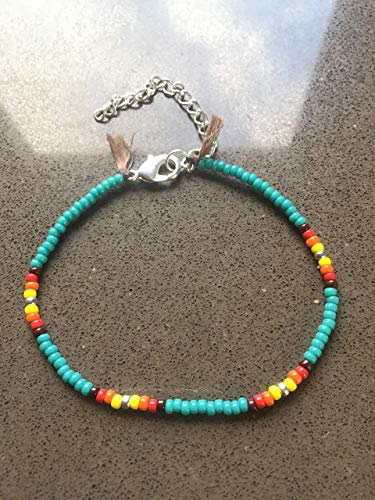 Anklet for Women or Girls, Unique Native American Style Thin Beaded Anklet Bracelet, Turquoise Colorful Boho Hippie Beach Foot Jewelry, - American Native Beaded Bracelets