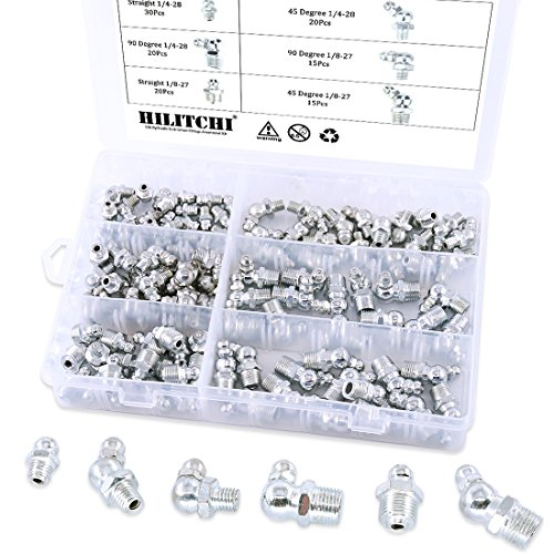 Hilitchi 120pcs SAE Hydraulic Zerk Grease Fittings Assortment Kit by Hilitchi