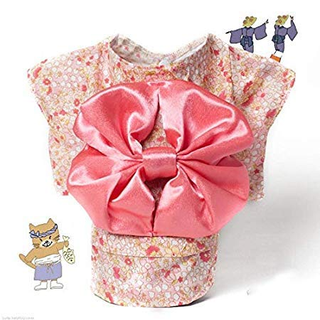Unknown Japan Style Pet Cat Kimono Small Flower pet Clothes Dog cat Kimono with Big Bowknot Dress up Necessary for Small Dog -