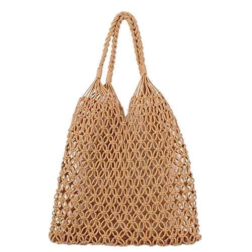 Handbag Net - Hixixi Cotton Rope Totes Travel Beach Fishing Net Handbag Shopping Woven Shoulder Bag for Women Girls (Khaki)