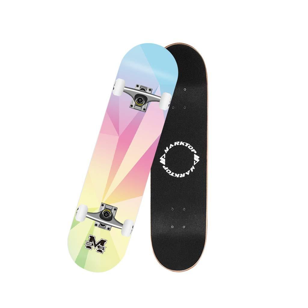 スケートボード フルボードスケートボード79×20センチ7層メープルプロのダンスロングボードダブルキックデッキ用屋外フリーライディング青少年大人子供初心者 (Color : ピンク) ピンク