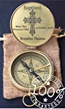 2018 Best Engraving on demand working vintage Compass gift | Baby Baptism Gift | Customized Confirmation Gift | Personalized Compass | Blessing Gift | Graduation | Missionary | Christmas | jute pouch