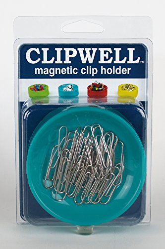 Clipwell Magnetic Paper Clip Holder, Turquoise Needle Holder Magnet