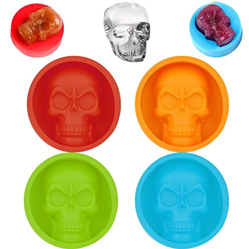 Jeeke Funny Skull Shape Mold Ice Pop Maker for Ice Cubes, Jelly, Popsicle, Cake, Chocolate, Muffin Mold (Green, 2.3x2.3inch) ()