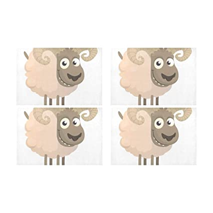Menedo Cute White Animals Little Sheep Kitchen Printed Stain Resistant Heat  Insulation Washable Square Table Mat 752cecc1f