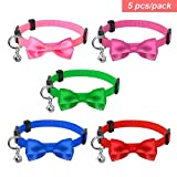 PET ARTIST Bell Cat Collar with Bow Tie, Set of 5 Big Saving, Mixed Solid Colors,Nylon Material Breakaway Pet Collars for Cats Kittens puppy