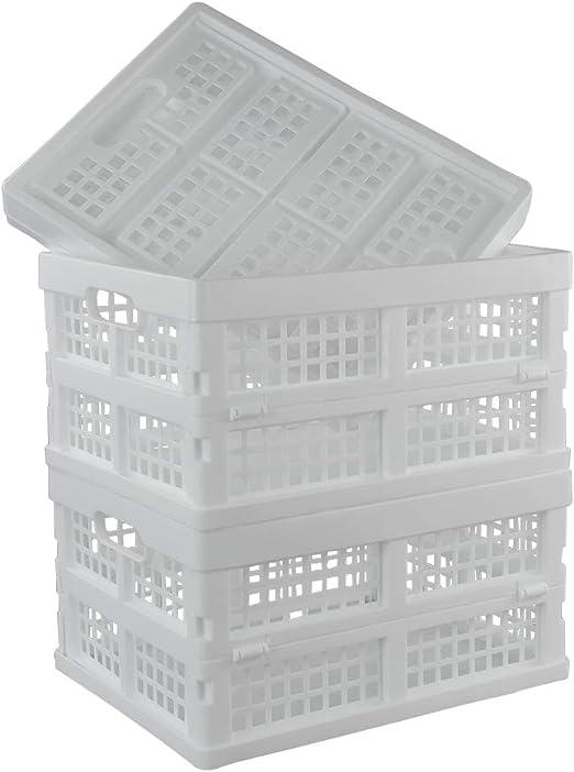 Ordate Caja Cestas de Almacenamiento Plegable de Plástico, Color Blanco, 3 Paquetes: Amazon.es: Hogar