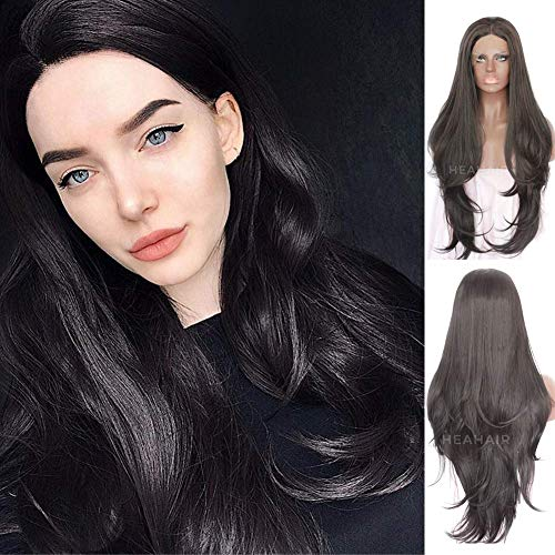 Heahair Black Natural Straight Synthetic Lace Front Wigs HS3029