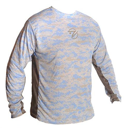 Breathe Like A Fish Men's Long Sleeve Camo Shirt, Blue Camouflage/Grey Mesh, Small