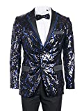 King Formal Wear Men's Premium Fashionable Sequin Blazers-Many Colors (Large, Sequin Royal & Black #17304)