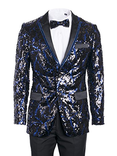 King Formal Wear Men's Premium Fashionable Sequin Blazers-Many Colors (Large, Sequin Royal & Black #17304) by King Formal Wear