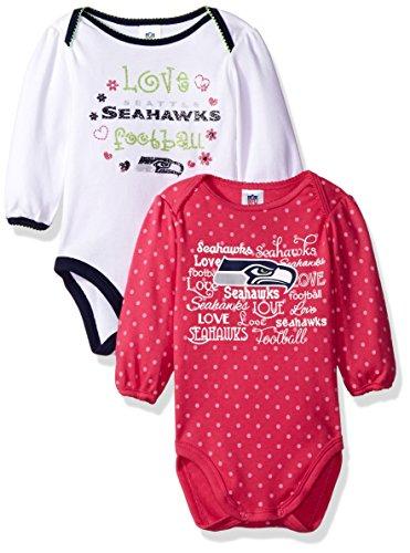 """Gerber Childrenswear """"Love Football"""" Seattle Seahawks 2Pk Long Sleeve Bodysuit, 3-6 Months, Pink, Seattle Seahawks"""
