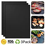 BBQ Grill Mat, Yougai Non-Stick BBQ Grill Mats, Set of 3 Barbecue Mat Durable, Heavy Duty, Reusable and Easy to Clean, FDA-Approved, PFOA Free, Black