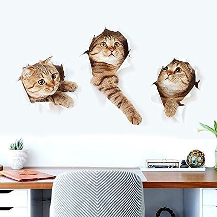 Vinilo gatos 3D gatitos escapando de pared llamativo y original para ...