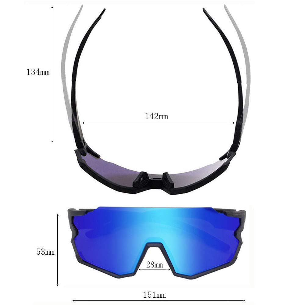 Ski Running,Golf Baseball,Fishing GIEADUN Sports Sunglasses Protection Cycling Glasses with 3 Interchangeable Lenses Polarized UV400 for Cycling
