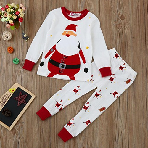 Egmy Xmas Spedbarn Baby Boy Girl Topper + Bukse Jule Hjem Antrekk Pyjamas  Sett ...