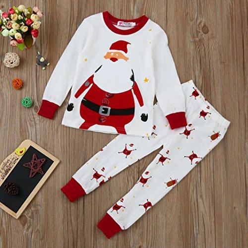 Egmy Xmas Baby Baby Boy Girl Tops + Pants Christmas Home Outfits Pyjama Set
