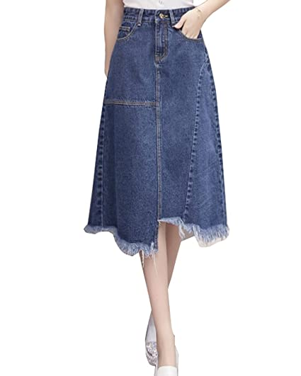 75b4c023699 Women s Maxi Pencil Jean Skirt- High Waisted A-Line Long Denim Skirts For  Ladies