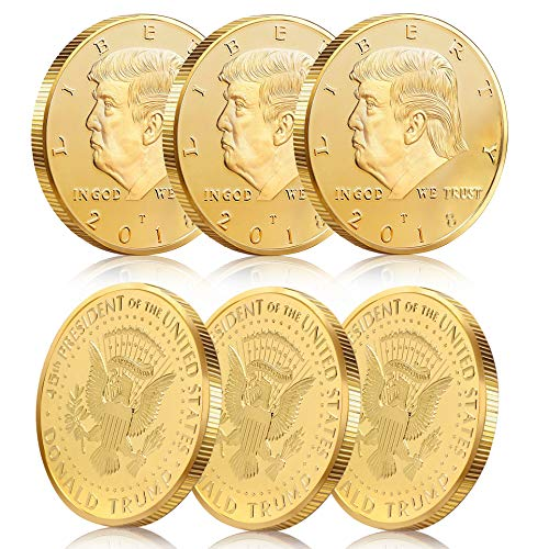 (Batterymart 6Pack Donald Trump Gold Coin Token 2018 24kt Gold Plated 45th President of The United)