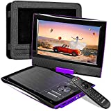 "SUNPIN 2020 New PD969 11"" Portable DVD Player for Car with Headrest Mount, Upgraded Remote Control, 9.5 inch Brightness Enhanced Screen DVD Play, 5 Hours Battery, Dual Earphone Jack(Purple)"