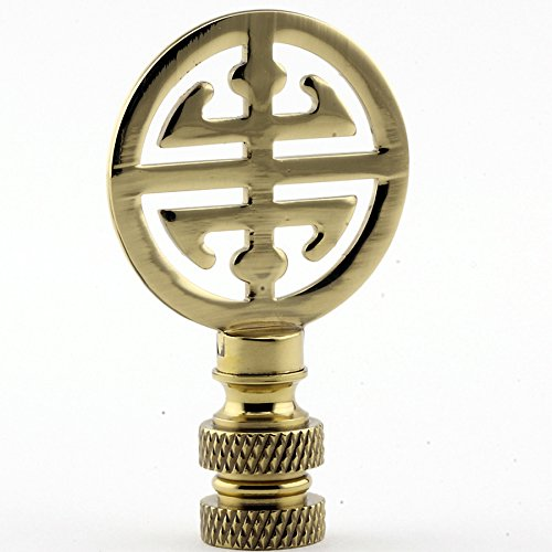 Polished Brass Asian Finial Lamp Shade Topper Oriental Character Letter Bright - Lamp Oriental Asian