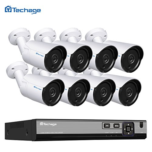 Techage HD H.265 4.0MP POE Security Camera CCTV System 8CH NVR, 8pcs IP Camera Outdoor Day/Night View Surveillance Kit