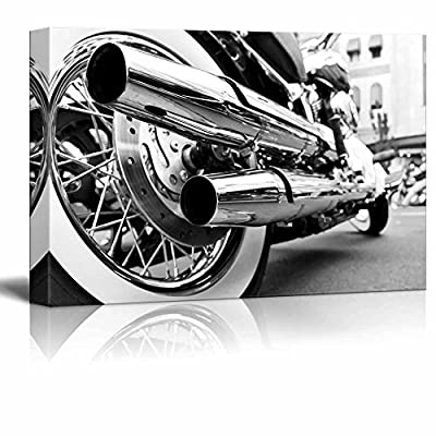 Motorcycle Motor Bike in Black and White Vintage Retro Style Wall Decor, With Expert Quality, Incredible Piece of Art