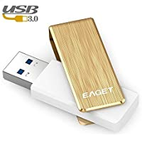 Eaget F50S USB 3.0 High Speed Capless Flash Drive,Water Resistant,Shock Resistant,256GB,Gold