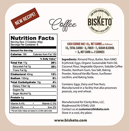 Low Carb Cookies BisKeto - Keto Snacks, Low Net Carbs, No Sugar, Gluten & Grain Free - Box with 6 Packs,12 Cookies (Variety Joy) - Ketogenic Diet Friendly & Healthy Snack Food 6