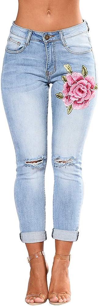 Wyhweilong - Pantalones vaqueros para mujer (cintura alta, tallas S-3XL).