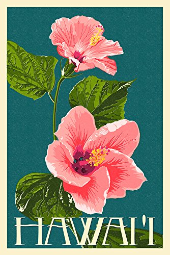 Hawaii - Pink Hibiscus Flower Letterpress (24x36 SIGNED Print Master Giclee Print w/ Certificate of Authenticity - Wall Decor Travel Poster) by Lantern Press