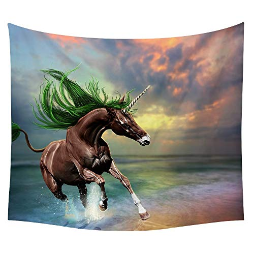 JUNZYGH Tapestry Wall Hanging,River Running Brown Horse Animal,Decorative Tarpaulin Wall Hanging,Beach Towel,Picnic Mat,Suitable for Bedroom Living Room Kitchen,150X130Cm (Paintings Of Horses Running On The Beach)