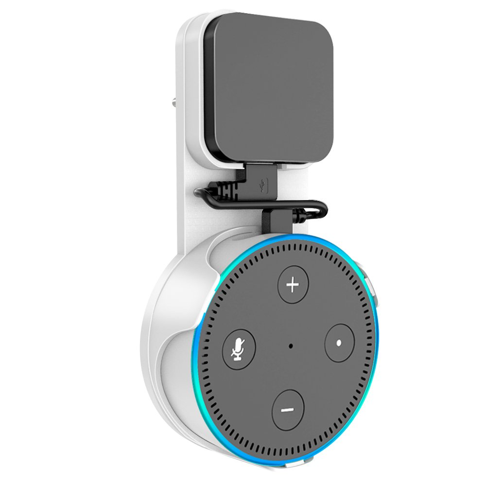 SPORTLINK Socket Wall Mount Hanger Stand for Dot 2nd Generation Without Mess Wires Or Screws, A Choice for Home Voice Assistant Plug in Kitchen Bathroom and Bedroom (White)