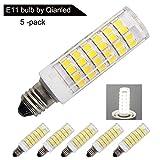 [5 Pack] Dimmable LED E11 Bulbs, Replace 100W 75W Halogen Bulb, Daylight 6000K, Mini Candelabra Base, 360° Beam Angle, 5.5W 850 Lumen, AC 110V 120V 130V, 2835 SMD,CRI>85