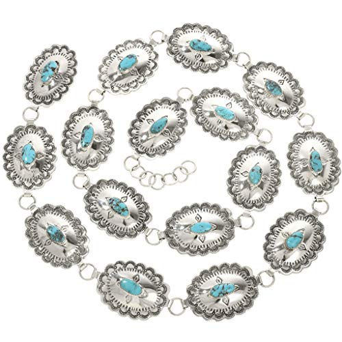 Silver Link Concho Belt - Navajo Turquoise Link Concho Belt Hammered Silver Patterns 0052