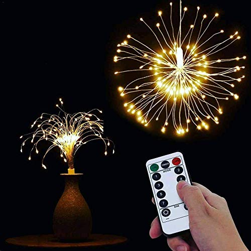 8 Modes Solar Explosion Ball Decoration Lamp,Hanging Fairy Lights LED Remote Control IP66 Waterproof Explosion Ball Fireworks Copper Wire Light Line for Christmas Halloween Outdoor Parties Decoration
