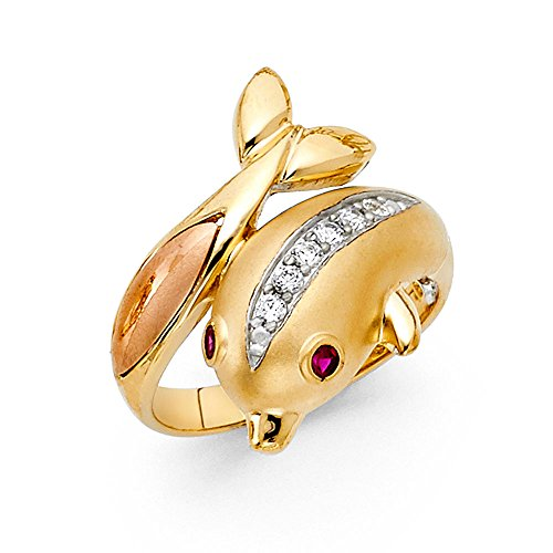 14k Yellow White Rose Gold CZ Dolphin Ring Good Luck Band Curve Satin & Polished Finish Size 8 (Rose 14k Yellow White)