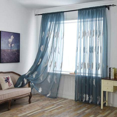 ZYLHC Embroidery Feather Curtains, Semi Sheer Voile Curtain for Living Room Bedroom Half Blackout Decoration Tulle Drapes 1 Panel-Blue W100h250cm(3998inch)