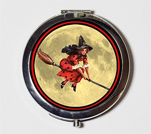 Victorian Witch Compact Mirror Halloween Vintage Witchcraft on Broom Pocket Size for Makeup Cosmetics