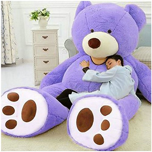 Livingly Light 78 inches (6.5ft) Super Huge Stuffed Animal Teddy Bear toys Doll Fluffy Plush Soft Toy Cuddles for Valentine's Birthday Gift 200cm Purple