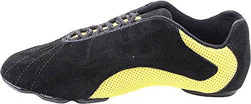Bundle Leggero Molto Bello Da Uomo Donna Salsa Vfsn016 Divisa Suola Scarpe Da Ballo Sneaker + Sacchetto Giallo