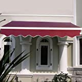 Online Gym Shop CB16593-FDS-OP2672 Manual Patio Retractable Deck Awning Sunshade Shelter Canopy Outdoor