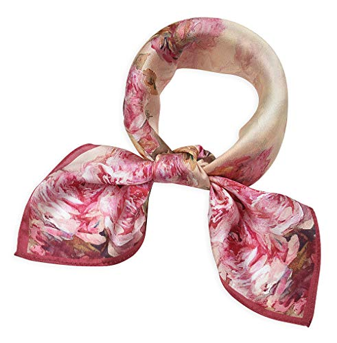 (Women's Small Square 100% Real Mulberry Silk Scarfs Scarves 21