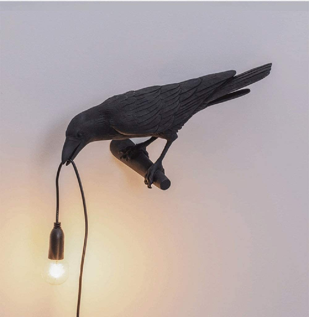 Crow Wall Lamp HebutyLife, Black Lucky Bird Lamp Cute Raven Wall Light Fixture LED Modern Art Decor Wall Sconces Beside Lamps for Bedroom, Living Room, Office, College Dorm, 1 Pack