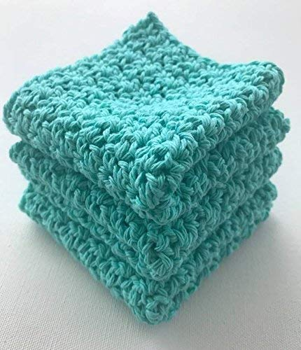 Bright Teal, Robin Egg Blue Crochet Cotton Dishcloth, set of 3 ()