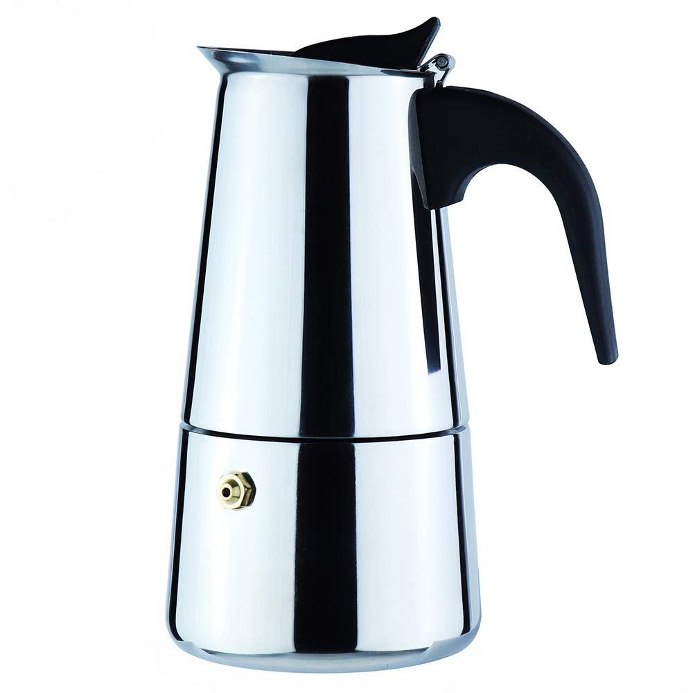 2-Cup Stovetop Espresso Moka Coffee Maker Pot - Best Polished Stainless Steel Coffee Percolator with Permanent Filter and Heat Resistant Handle - Ideal to Brew Coffee in Your Home Kitchen and Office